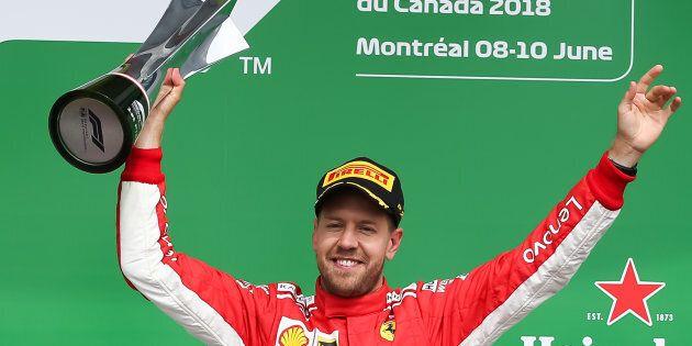 Le pilote Ferrari Sebastian Vettel remporte le Grand Prix du