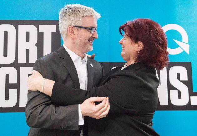 Jean-Martin Aussant et la députée sortante de Pointe-aux-Trembles, la péquiste Nicole
