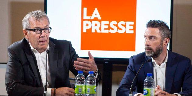 L'éditeur Guy Crevier et le président de «La Presse» Pierre-Elliott