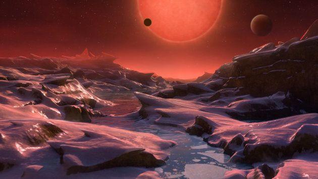 Une vue d'artiste imaginant une des exoplanètes rocheuses découvertes autour de l'étoile Trappist-1,...