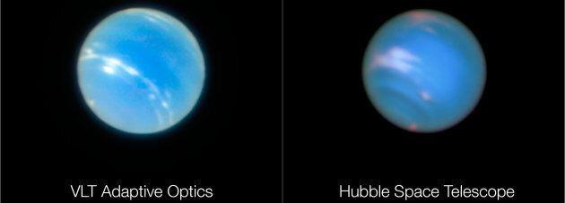La photo prise par le VLT est à gauche, celle d'Hubble à