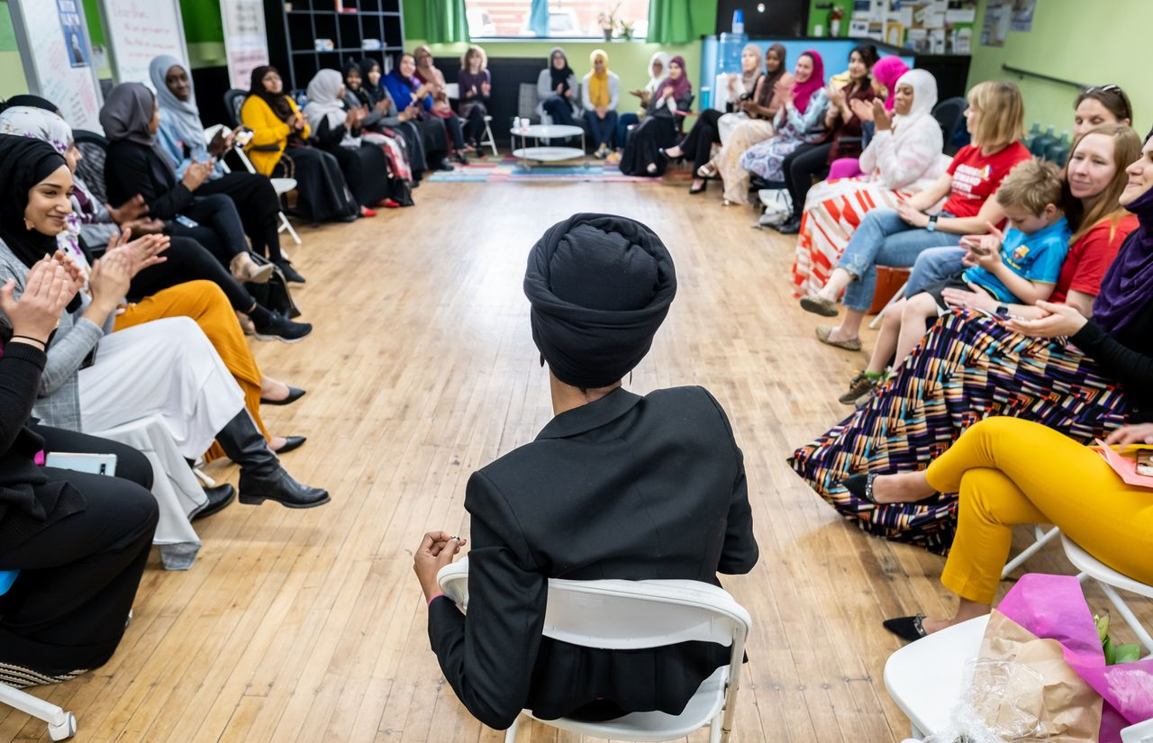 Rep. Ilhan Omar meets with community members at the RISE (Reviving Sisterhood) office in North Minneapolis on April 24, 2019. RISE is a nonprofit organization that works to cultivate leadership and civic engagement among Muslim women.