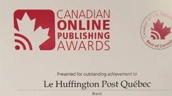 «Le Huffington Post Québec» et le «Huffington Post Canada» remportent cinq