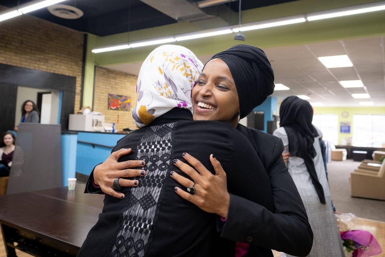 Representative Ilhan Omar greets community members at the RISE (Reviving Sisterhood) office in North Minneapolis on April 24, 2019.