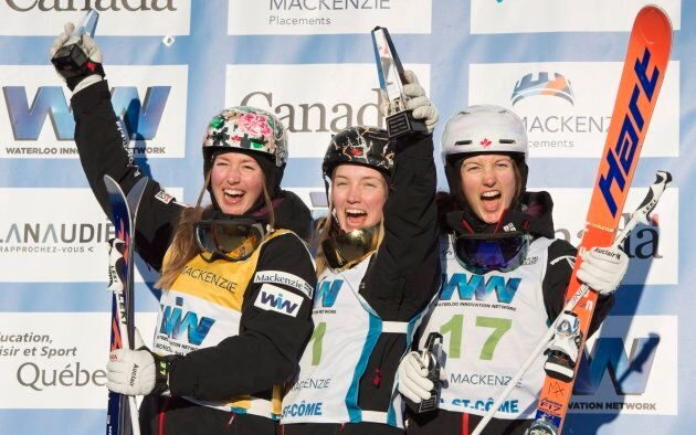 Les soeurs Dufour-Lapointe ont raflé les trois marches du podium à la Coupe du monde de Val Saint-Côme,...