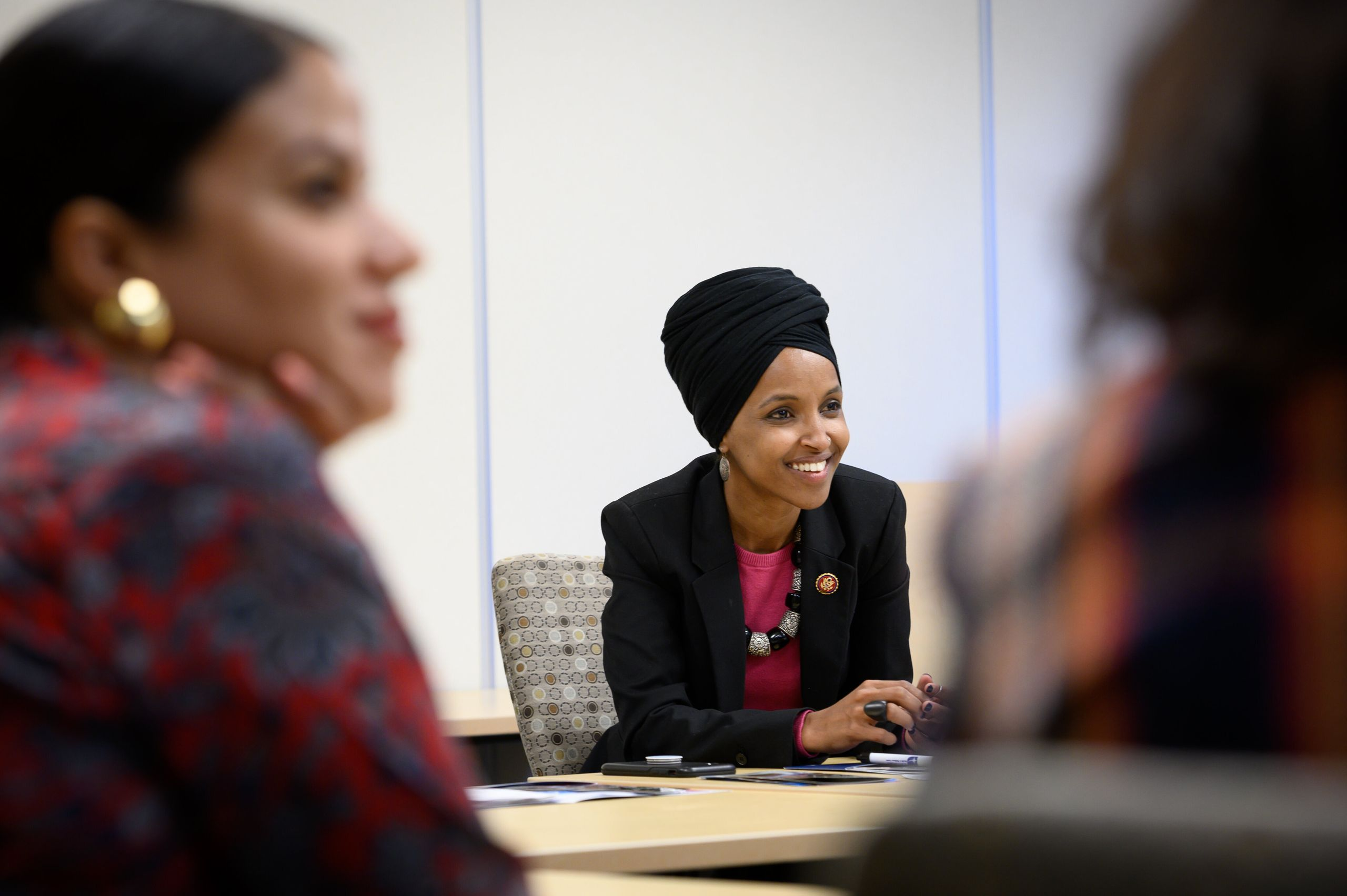 Omar meets with employees of Northpoint Health & Wellness Center in North Minneapolis on April 24, 2019.