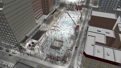 La future esplanade Clark constitue la dernière phase du réaménagement du Quartier des spectacles.