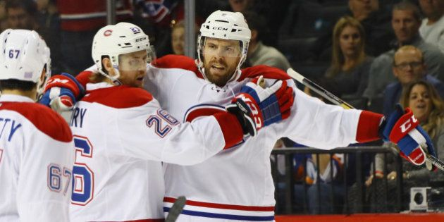 NEW YORK, NY - OCTOBER 26: Shea Weber #6 of the Montreal Canadiens celebrates the game winning powerplay...