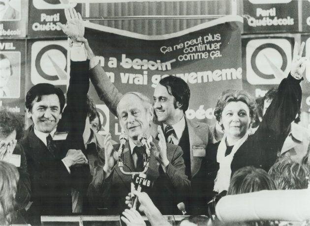René Lévesque, le soir de la victoire du PQ en