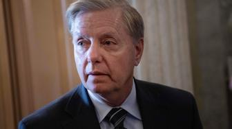 Republican US Senator from South Carolina Lindsey Graham speaks to reporters as he arrives for a vote to overturn President Donald Trump's veto of a resolution to end US participation in Yemen's civil war, at the Capitol in Washington, DC, on May 2, 2019. (Photo by NICHOLAS KAMM / AFP)        (Photo credit should read NICHOLAS KAMM/AFP/Getty Images)
