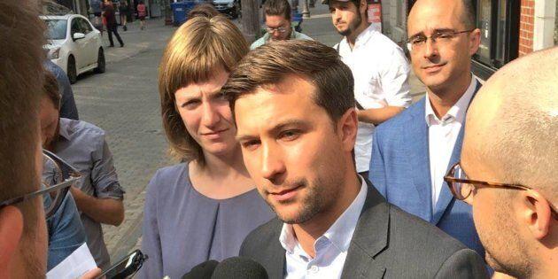 Gabriel Nadeau-Dubois, en point de presse avec les candidats solidaires Catherine Dorion et Sol Zanetti,...
