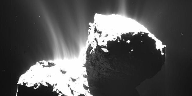 The photo recently released by ESA and taken by OSIRIS wide-angle camera on the Rosetta space probe on...