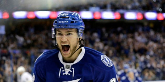 Tampa Bay Lightning's Jonathan Drouin celebrates after scoring a goal against the Pittsburgh Penguins...
