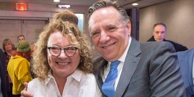 Marguerite Blais avec François Legault lors de l'annonce de sa candidature dans Prévost en mai