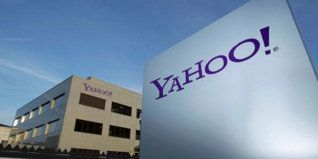 A Yahoo logo is pictured in front of a building in Rolle, 30 km (19 miles) east of Geneva, December 12,...