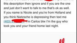Il écrit aux 247 Nicole de son université pour retrouver son âme