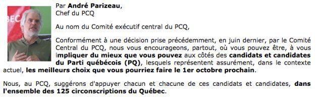 Extrait de l'appui officiel du chef du PCQ, André Parizeau, au Parti québécois.
