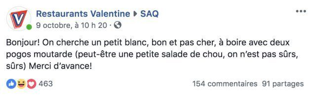 Quand Valentine et la SAQ collaborent pour l'accord pogo-vin