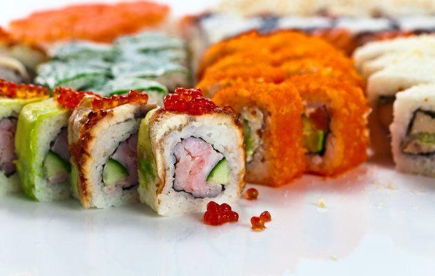 japanese sushi on a white reflexive