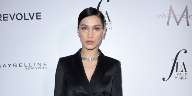 Bella Hadid arrives at Daily Front Row's Fashion Los Angeles Awards at the Sunset Tower hotel on Sunday,...