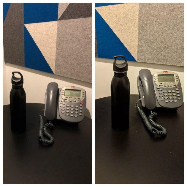 Dans une petite salle peu éclairée, le Pixel 3 s'en tire mieux. On peut voir les détails sur le bouchon...