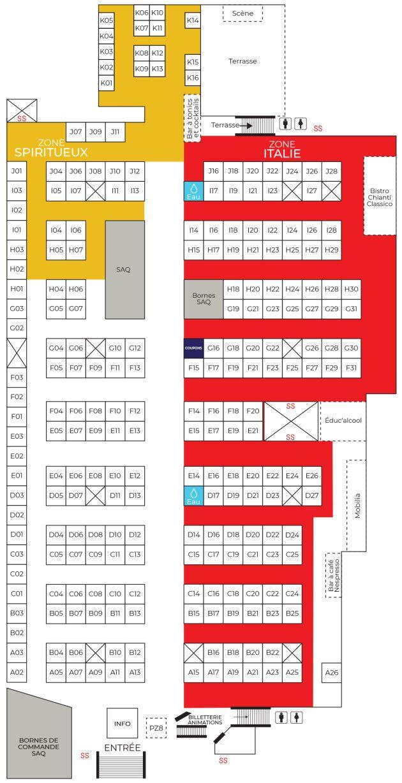 Plan de la salle et # des tables