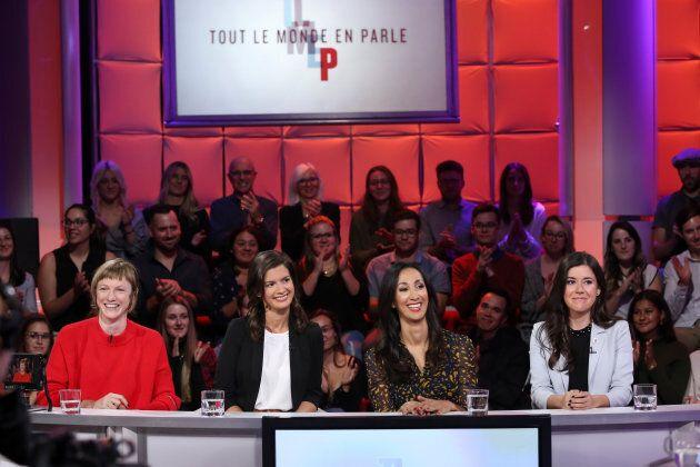 De gauche à droite: Catherine Dorion, Geneviève Guilbault, Marwah Rizqy et Catherine Fournier à «Tout...