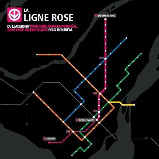 La ligne rose proposée par Valérie Plante relierait Montréal-Nord au centre-ville. Une seconde phase en surface se rendrait à Lachine.