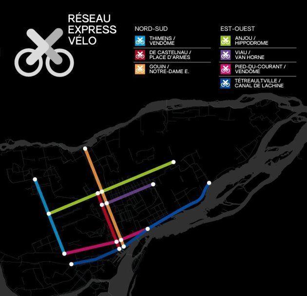 Le tracé du futur Réseau express vélo tel que présenté par l'administration Plante.
