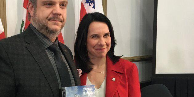 Valérie Plante et Benoit Dorais, lors de la présentation du budget 2018 de la Ville de