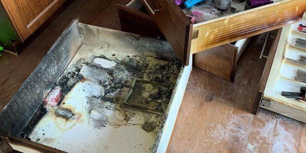 Les piles de Damien Morris ont surchauffé dans un tiroir, déclenchant un incendie qui aurait pu détruire...