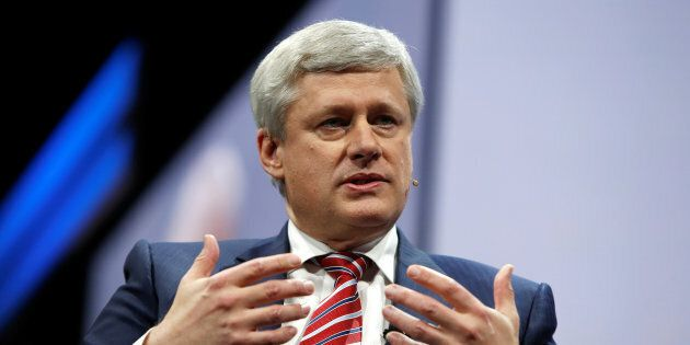 L'ancien premier ministre canadien Stephen Harper s'adresse à la conférence de l'American Israel Public...