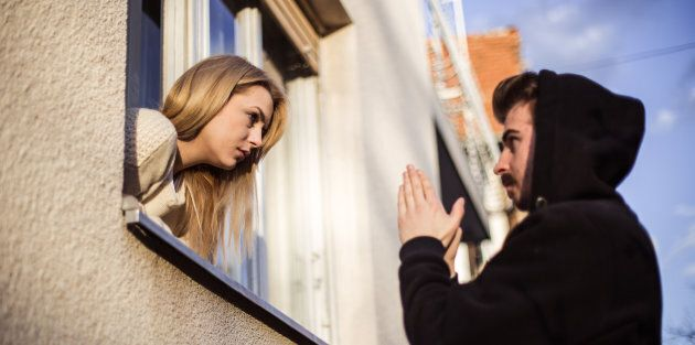 Man begging his girlfriend to forgive