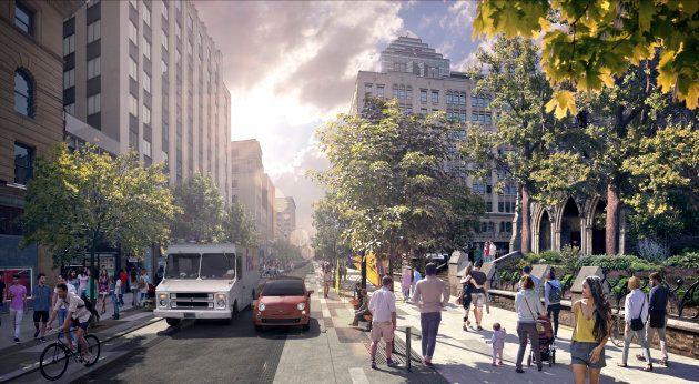 Le concept choisi pour la nouvelle rue Sainte-Catherine, entre de Bleury et Mansfield. La Ville étudie la possibilité de l'étendre jusqu'à Atwater.