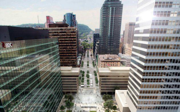 Vue aérienne de la Place Ville-Marie et de l'avenue McGill College.