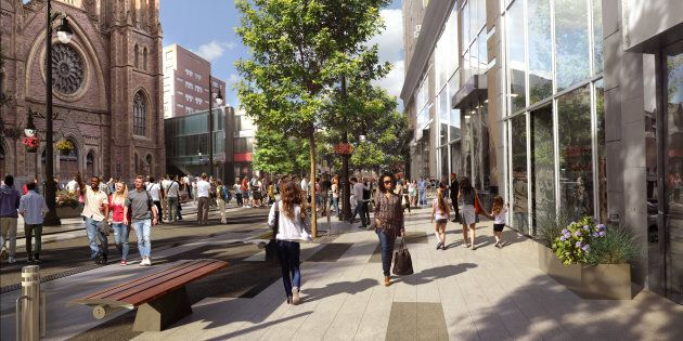 Une maquette du nouveau concept d'aménagement de la rue Sainte-Catherine, à Montréal.