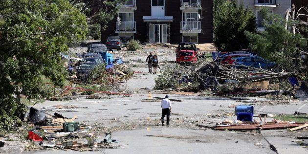 Les dégâts laissés par une tornade, le 22 septembre 2018, dans le secteur du Mont-Bleu à