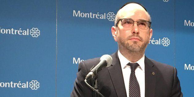 Lionel Perez, chef intérimaire d'Ensemble Montréal et chef de l'opposition à l'hôtel de ville de Montréal.