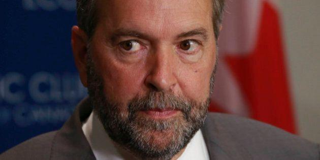 TORONTO, ON - JUNE 16: NDP Leader, Thomas Mulcair talks to media at the Toronto downtown Hilton Hotel...