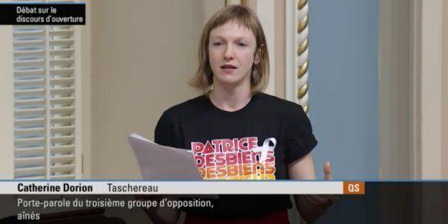 La députée de Taschereau, Catherine Dorion, a livré un discours sur la culture, la solitude et la lutte...