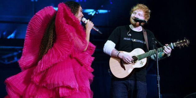 Beyoncé et Ed Sheeran sur la scène du Global Citizen Festival, le 2 décembre 2018 à Johannesburg en Afrique...