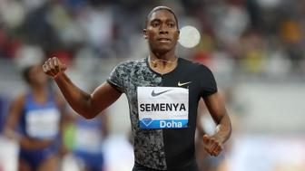 South Africa's Caster Semenya crosses the line to win the gold in the women's 800-meter final during the Diamond League in Doha, Qatar, Friday, May 3, 2019. (AP Photo/Kamran Jebreili)
