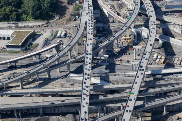 Montreal, September 10, 2017. Aerial view over the Turcot interchange construction project in Montreal. The old interchange is being replaced with a modernized structure that is now 50% completed. This mega project is one of Canada's largest transportation hub.