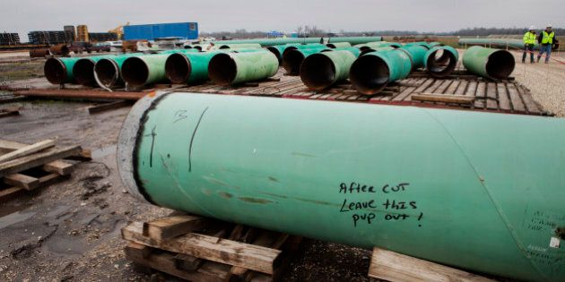 Pipes sit at the TransCanada Corp. Houston Lateral Project pipe yard in Mont Belvieu, Texas, U.S., on...