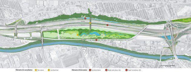 Avec le déplacement de l'échangeur Turcot, la Ville de Montréal souhaite créer un nouveau parc-nature dans l'ancienne cour du même nom, en plus d'une dalle-parc pour connecter les quartiers.