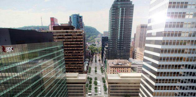 Vue aérienne de l'avenue McGill College.