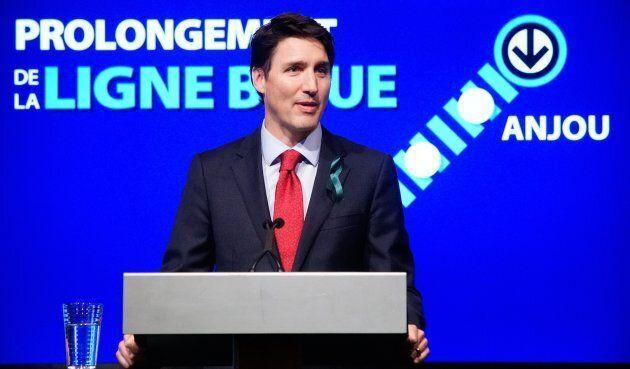 Justin Trudeau confirme la participation financière du fédéral pour le prolongement de la ligne bleue du métro de Montréal, le 9 avril 2018.
