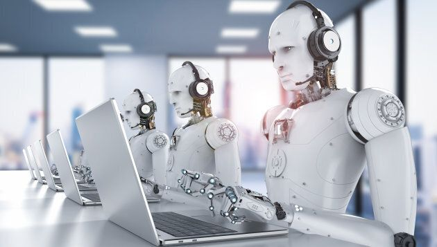 3d rendering humanoid robots working with headset and