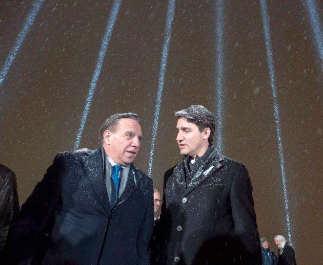 Le 6 décembre 2018, François Legault et Justin Trudeau ont participé à une cérémonie en hommage aux victimes...