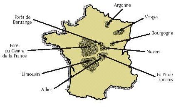 Carte des forêts de chêne en France